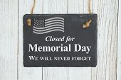 Closed Memorial  Day Chalkboard Sign With Patriotic Usa Flag On Weathered Whitewashed Textured Wood poster