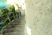 Beautiful Outdoor Beautiful Natural Staircase. Outer Stone Staircase Open. White Natural Stone, Cora poster