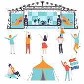 Open Air Festival Set, Music Band Performing On Stage, People Dancing, Cheering, Partying In Camping poster