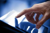 picture of tablet  - Man hand touching screen on modern digital tablet pc - JPG