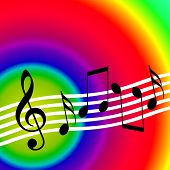 image of jive  - Bright colorful music background with musical notes - JPG