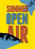 Summer Open Air Festival Typographical Vintage Grunge Pop-art Style Poster Design. Retro Vector Illu poster