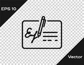 Grey Signed Document Line Icon Isolated On Transparent Background. Pen Signing A Contract With Signa poster