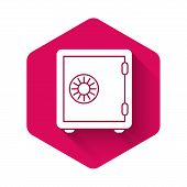 White Safe Icon Isolated With Long Shadow. The Door Safe A Bank Vault With A Combination Lock. Relia poster