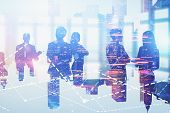 Silhouettes Of Business People In City With Double Exposure Of Graphs. Concept Of Market Analysis An poster