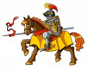 foto of jousting  - Medieval knight on horseback - JPG