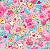 pic of kawaii  - Seamless kawaii child pattern with cute doodles - JPG