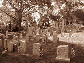 stock photo of embalming  - Civil war gravestones in the Greenwood Cemetery in Brooklyn  - JPG