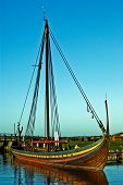 picture of viking ship  - The Worlds largest reconstruction of a Viking ship was launched in 2004 and named by the Queen Margrethe 2nd of Denmark - JPG