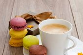 foto of easter_break  - coffee break  with gift box and colorful  macaroons - JPG