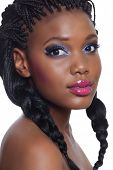 stock photo of dreadlocks  - beautiful young African American woman with long black hair and bright makeup - JPG