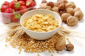 stock photo of potassium  - Corn flakes cereal bowl and fruit ingredients - JPG