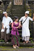 BALI - JANUARY 22. Young Balinese pilgrims at Mother Temple in Besakih on January 22, 2012 in Bali,