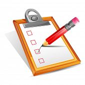 image of clipboard  - illustration of pencil making tick in check box in clipboard - JPG