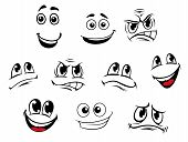 stock photo of angry smiley  - Cartoon faces set with different emotions for comics - JPG