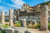 stock photo of ancient civilization  - Ephesus ancient greek ruins in Anatolia Turkey - JPG