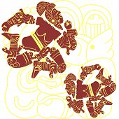image of berserk  - Vector of set of mayan and aztec warriors on white - JPG