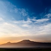 stock photo of kilimanjaro  - Stunning view of the Kilimanjaro at sunrise - JPG