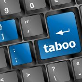 foto of taboo  - taboo button on computer keyboard pc key - JPG