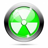 picture of radium  - Metallic round glossy icon with white design on green background - JPG