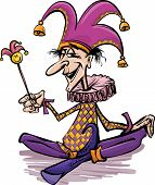 stock photo of jestering  - Cartoon Illustration of Funny Court Jester or Joker - JPG