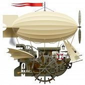 Isolated raster version of vector image of the complex fantastic flying ship with machinery, dirigib