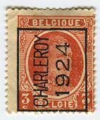 BELGIUM - CIRCA 1922: A stamp printed in Belgium shows image of the Albert I (April 8, 1875 - Februa