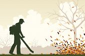 stock photo of leaf-blower  - Editable vector illustration of a man using a leaf - JPG