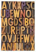 random letters of alphabet - vintage letterpress wood type printing blocks scratched and stained by