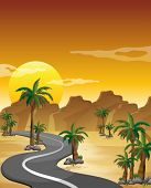 pic of long winding road  - Illustration of a desert with a long and winding road - JPG