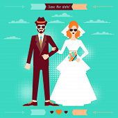 foto of fiance  - Wedding invitation card template in retro style - JPG