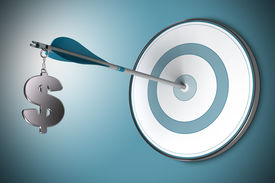 picture of asset  - One dollar symbol fixed on an arrow - JPG