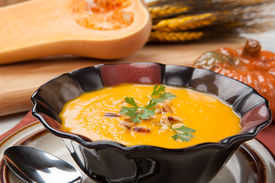 image of pine nut  - Hot delicious pumpkin soup in a bowl - JPG
