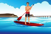 stock photo of paddling  - A vector illustration of man paddle boarding in the ocean - JPG