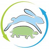 picture of the hare tortoise  - An image of a tortoise hare race cycle - JPG