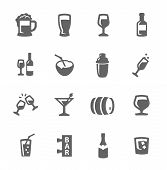 stock photo of mug shot  - Simple set of alcoholic beverages related vector icons for your design - JPG