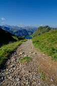 High Mountain Trail In The Alps