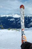 image of ski boots  - Ski and boot on the nearby Kaltenbach in Zillertal valley in Austria