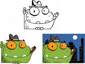 stock photo of mobsters  - Mobster Frog Cartoon Mascot Character - JPG