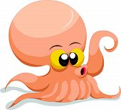 pic of kraken  - Vector illustration of Cute Squid cartoon isolated on white background - JPG