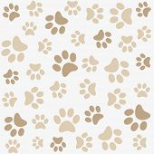 stock photo of dog footprint  - Seamless animal pattern of paw footprint - JPG