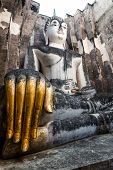 foto of chums  - 700 years ancient big buddha statue Sukhothai - JPG