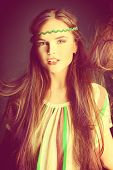 stock photo of hippies  - Beautiful girl with natural make - JPG
