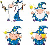 image of warlock  - Happy Wizards Cartoon Mascot Characters - JPG