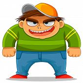 stock photo of maliciousness  - cartoon naughty kid ready to bully others - JPG