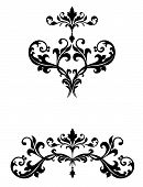 stock photo of scrollwork  - Delicate curvy leaf scroll scrollwork ornaments for wedding announcements or invitations or flourishes for logos or page ornamentation with a Victorian vintage flavor - JPG