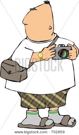 Picture or Photo of This illustration depicts a man taking photos.