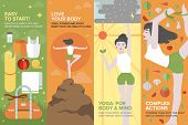 Постер, плакат: Yoga Life For Body And Mind Flat Banner Set