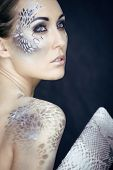 pic of python  - fashion portrait of pretty young woman with creative snake make up - JPG