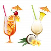 picture of pina-colada  - Set of Vector Illustration Icons beach tropical cocktails bahama mama and pina colada with garnish - JPG